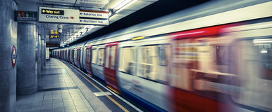London subway. Inside view of London underground, special photographic processing Royalty Free Stock Photo