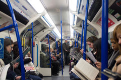 London Subway inside people metro interior people Stock Photography