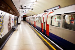 London subway stopped. View of the London subway stopped at the platform, with door closed Royalty Free Stock Photography