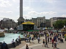 London. Summer time traflagar square Royalty Free Stock Photo