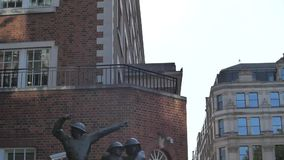 London Sunny Afternoon. Near St Paul`s Cathedral at Firefighters monument stock footage
