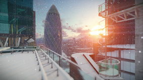 London at sunrise, Military Chopper passing, snowing royalty free illustration