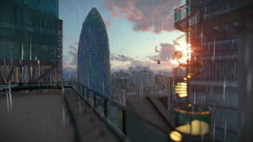 London at sunrise, Military Chopper passing, Swiss Reinsurance Headquarters, The Gherkin, raining vector illustration