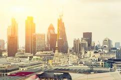 London at Sunrise, yellow sun light over London Stock Image