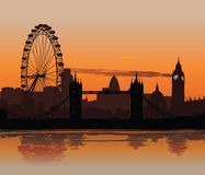 London at sunset. Vector illustration of London skyline at sunset with reflection on the Thames