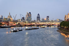 London sunset. St Paul's Cathedral and Blackfriars Bridge at sunset Royalty Free Stock Photo