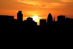London at sunset. London skyline at sunset with beautiful sky illustration Stock Photo