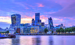 London Sunset. A beautiful sunset over London on the Thames river Stock Photography