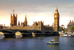 London sunset. Big Ben and houses of Parliament Royalty Free Stock Photo