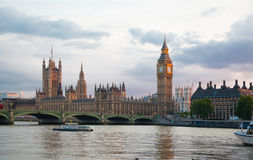London sunset. Big Ben and houses of Parliament Royalty Free Stock Photography