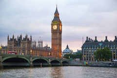 London sunset. Big Ben and houses of Parliament Stock Images
