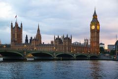 London sunset. Big Ben and houses of Parliament Royalty Free Stock Images