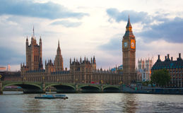 London sunset. Big Ben, houses of Parliament Stock Images