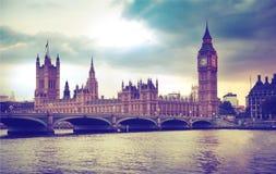 London sunset. Big Ben and houses of Parliament Stock Photos