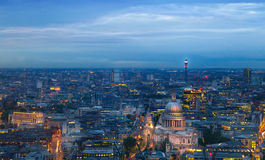 London at sunset. City background. Night lights Westminster side Stock Photo