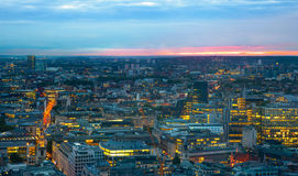 London at sunset. City background. Night lights Westminster side.  stock photo
