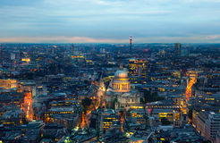 London at sunset. City background. Night lights Westminster side Royalty Free Stock Photos