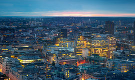 London at sunset. City background. Night lights Westminster side Royalty Free Stock Images