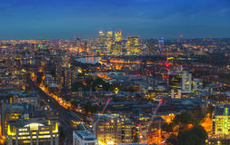 London at sunset. City background. Night lights Westminster side Stock Images