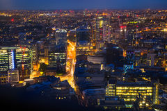 London at sunset. City background. Night lights Westminster side Stock Photography