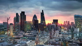 London, sunset. City of London view business and banking aria stock video footage