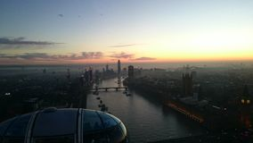 London sunset. On the Londoneye Royalty Free Stock Photography