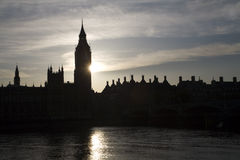 London - sunset over Big ben Stock Image