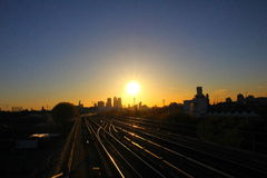 London Sunset. Sunset over London seen from Pontoon Dock DLR Station near London City Airport Royalty Free Stock Photo
