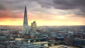 London, sunset. Shard, City of London and River Thames at sunset stock video footage