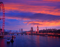 London sunset skyline Bigben and Thames Royalty Free Stock Image