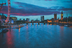 London sunset skyline Bigben and Thames Stock Image