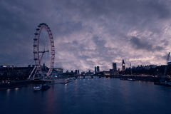 London sunset skyline Bigben and Thames Royalty Free Stock Photography