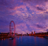 London sunset skyline Bigben and Thames Royalty Free Stock Images