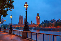 London sunset skyline Bigben and Thames Royalty Free Stock Photo
