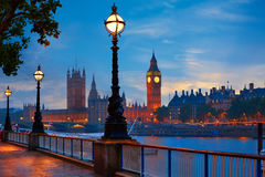 London sunset skyline Bigben and Thames Stock Photo