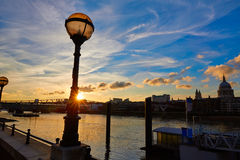 London sunset skyline with St Pauls in UK Stock Photography