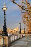 London, Sunset on St Paul Cathedral from Southbank. In a very soft light Royalty Free Stock Images