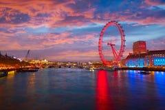 London sunset at Thames river near Big Ben Stock Photo