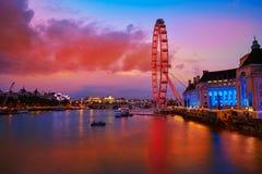 London sunset at Thames river near Big Ben Stock Photos