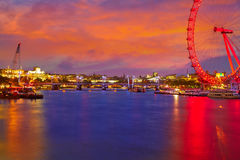 London sunset at Thames river near Big Ben Royalty Free Stock Photos