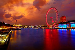 London sunset at Thames river near Big Ben Stock Images