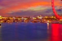 London sunset at Thames river near Big Ben Stock Photography