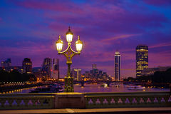 London sunset at Thames river near Big Ben Royalty Free Stock Photography