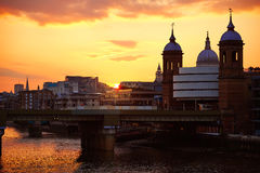 London sunset at Thames with St Paul Pauls Royalty Free Stock Photos