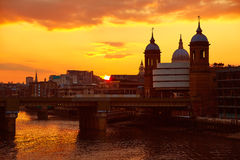 London sunset at Thames with St Paul Pauls Royalty Free Stock Photo