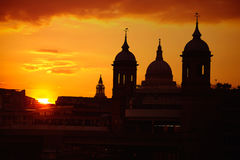 London sunset at Thames with St Paul Pauls Stock Images