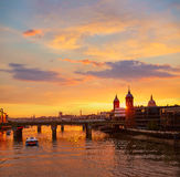 London sunset at Thames with St Paul Pauls Stock Photo