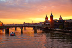London sunset at Thames with St Paul Pauls Stock Photos