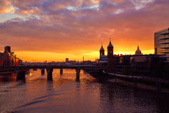 London sunset at Thames with St Paul Pauls Stock Image