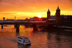 London sunset at Thames with St Paul Pauls Stock Photography